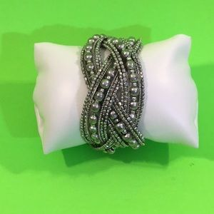 Silver Beaded Clamp On Bracelet